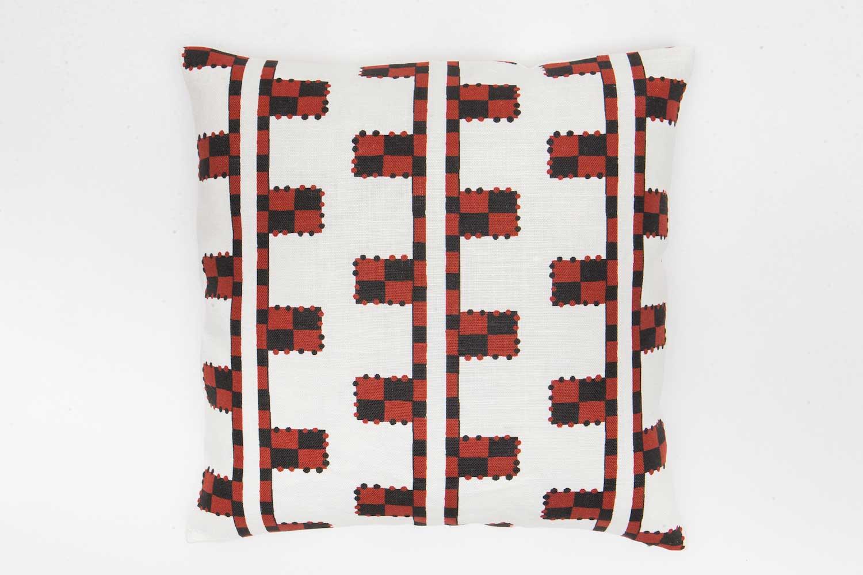 Abbot Atlas karpathos ladder red fabric linen printed pillow cushion