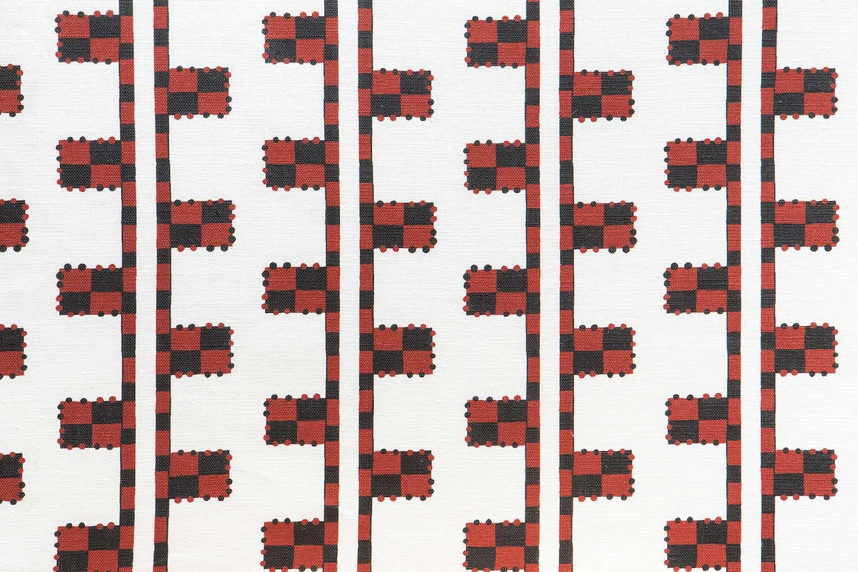 Abbot Atlas karpathos ladder red fabric linen printed