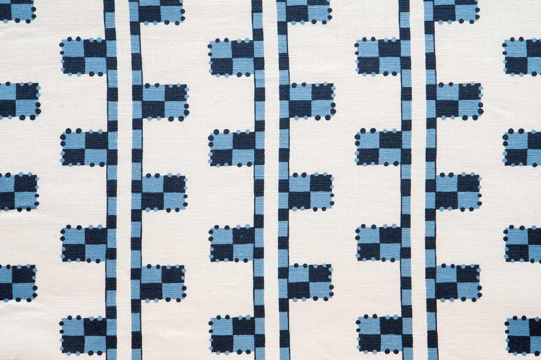 Abbot Atlas karpathos ladder blue fabric linen printed