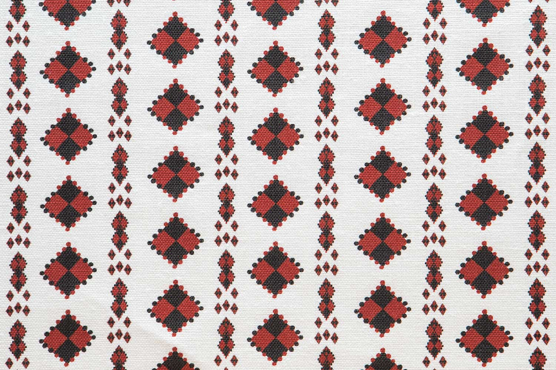 Abbot Atlas karpathos diamond red fabric linen printed