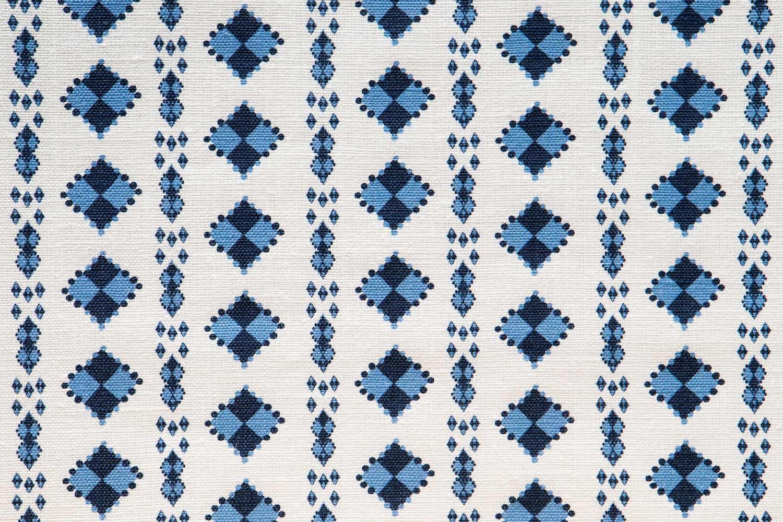 Abbot Atlas karpathos diamond blue fabric linen printed