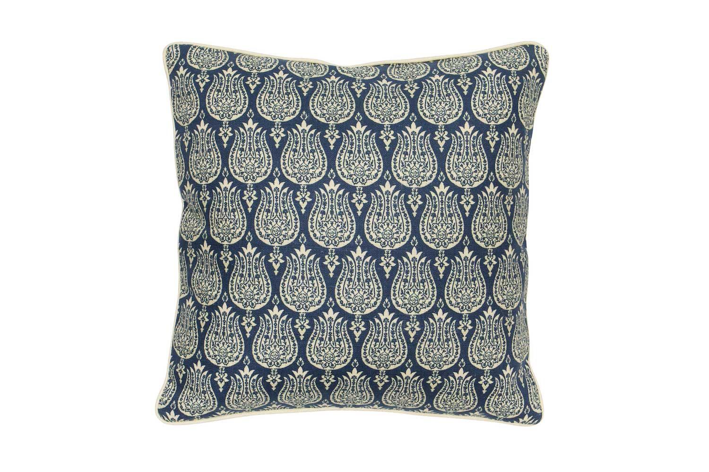Abbot Atlas ottoman tulip blue fabric linen printed pillow cushion