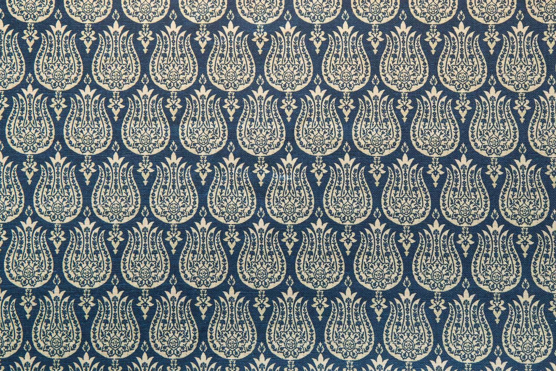 Abbot Atlas ottoman tulip blue fabric linen printed