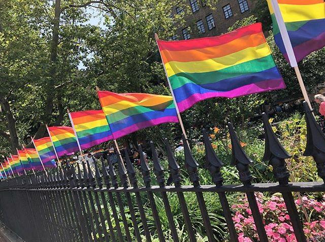 It's parade day in Greenwich Village! ❤️🧡💛💚💙💜 #stonewall50 #greenwichvillage