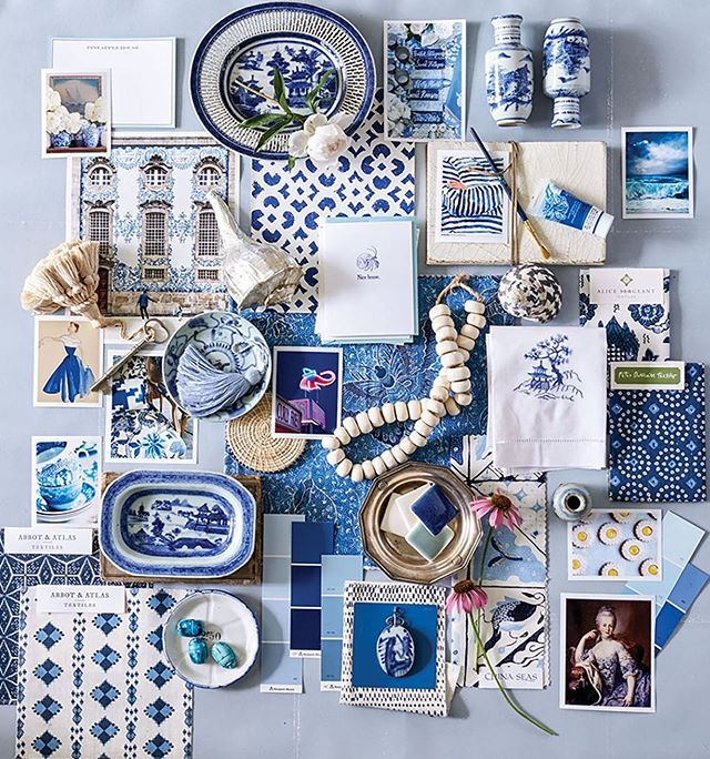 Our Naxos & Karpathos Diamond fabrics both in Cobalt, featured in @flowermagazine, @heatherchadduck and @davidhillegasphoto a huge thank you for including us in this piece on your stunning blue & white home! 💙