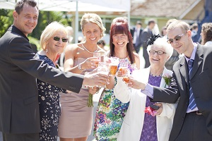 Wedding drinks reception with pimms at woodthorpe hall