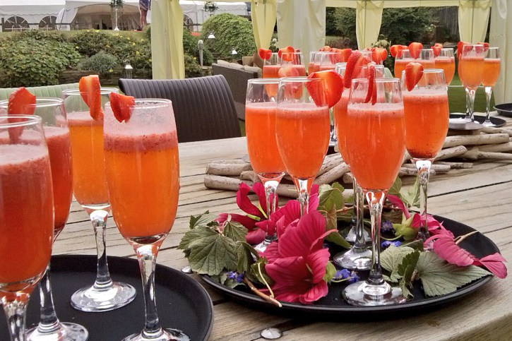 Strawberry Bellini made from Sheffield grown strawberries and champagne