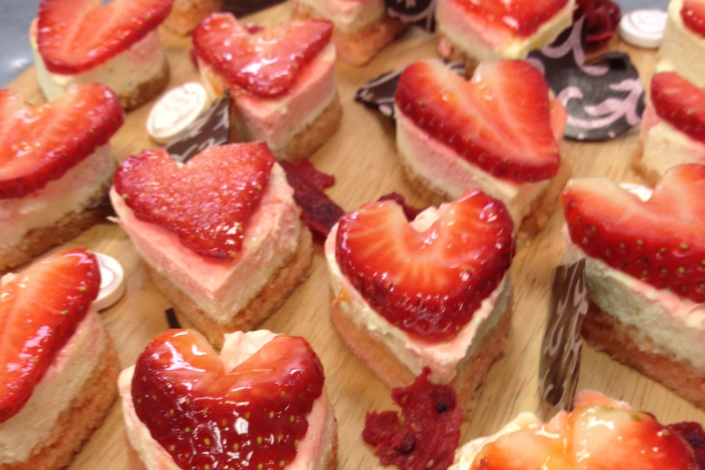 Strawberry heart cheesecakes handmade by PJ taste chefs