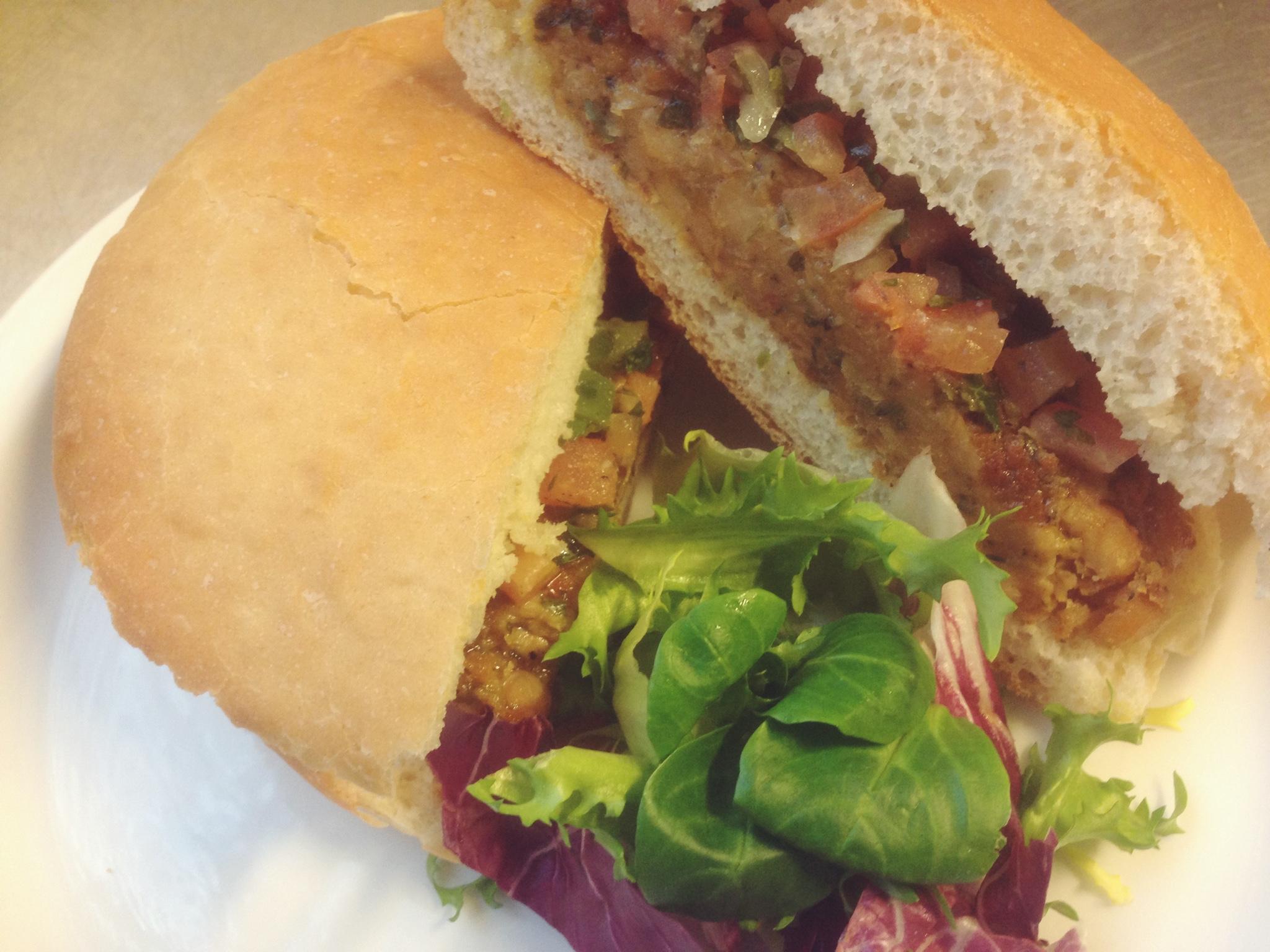 cajun chickpea vegan burger