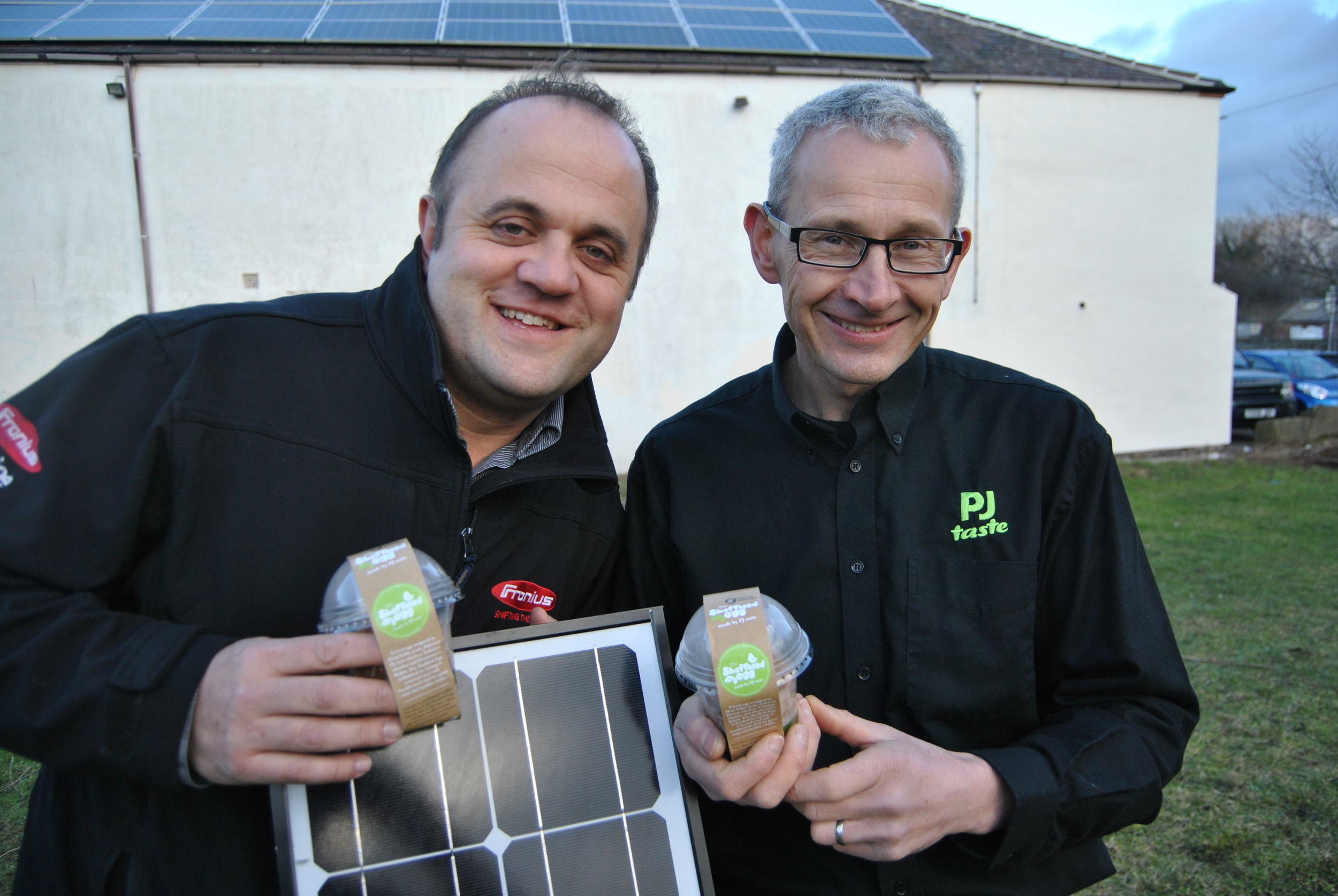 Rob Samuelson from jump energy and peter moulam at pj taste on the completion of the solar install - with our locally sustainable sheffield egg!
