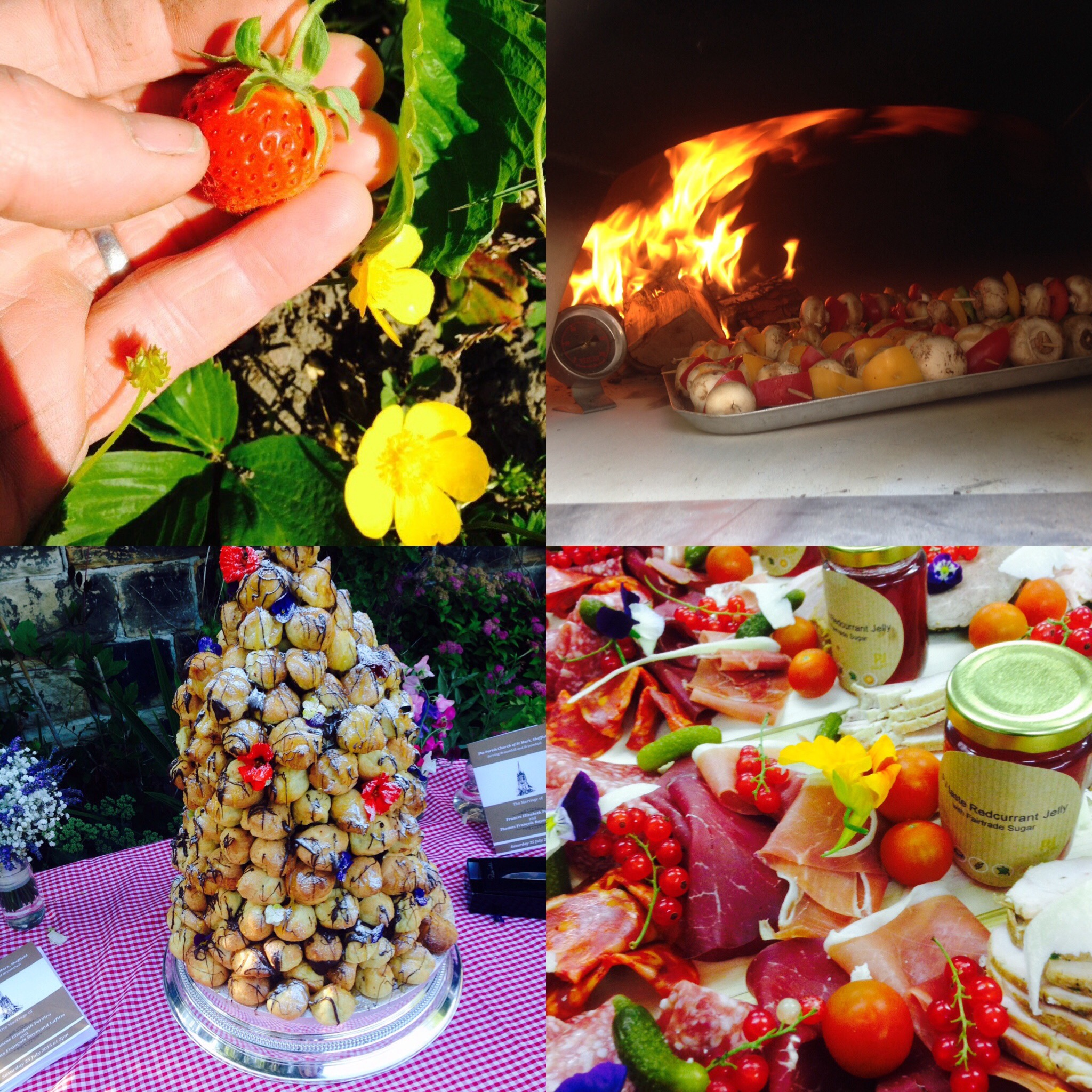 Croque en bouchee, meat platters, pizza oven and strawberry picking with PJ taste