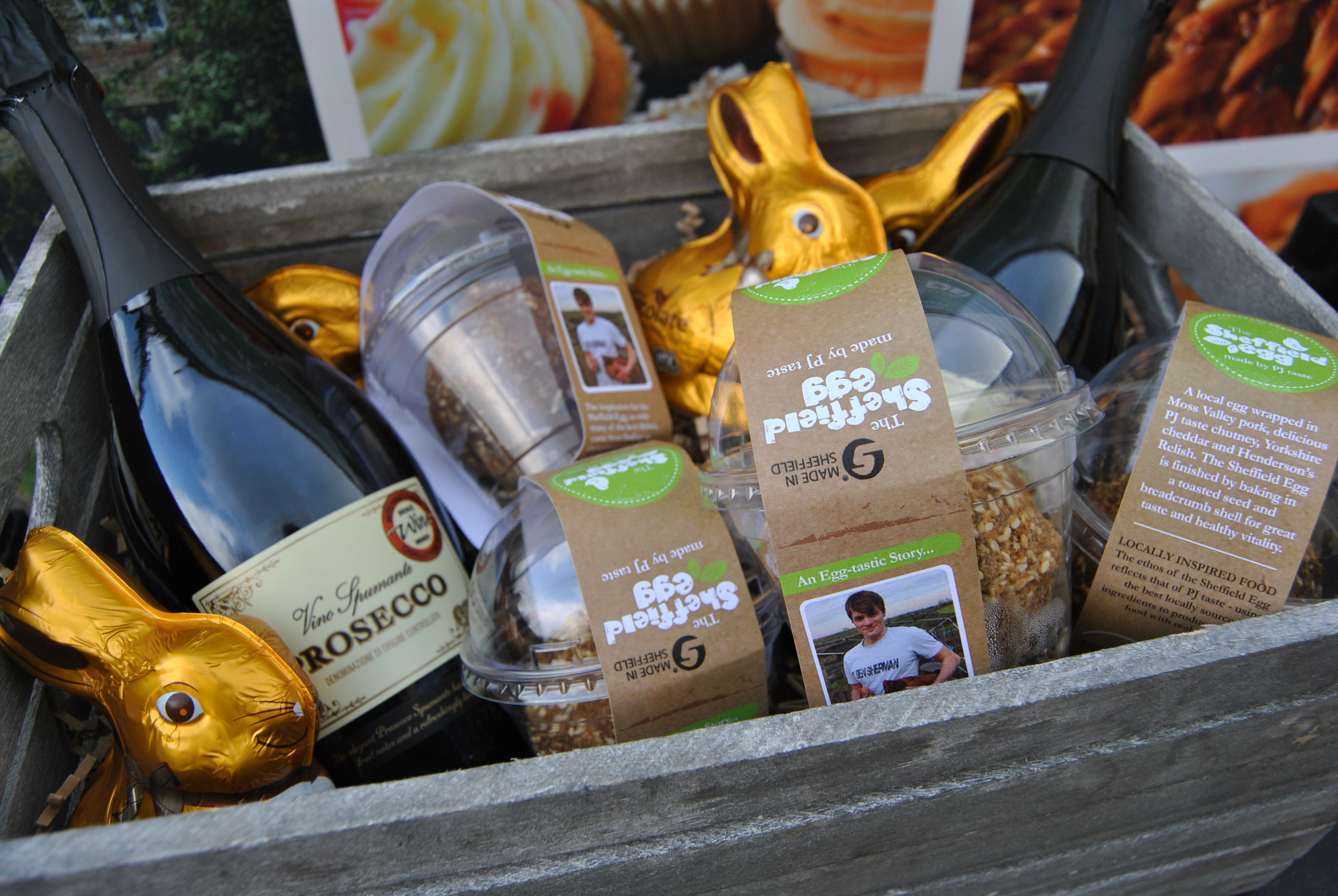 Donate now for a chance to win this hamper for Easter - 2 bottles Prosseco, Easter Bunnies and 4 Sheffield Eggs