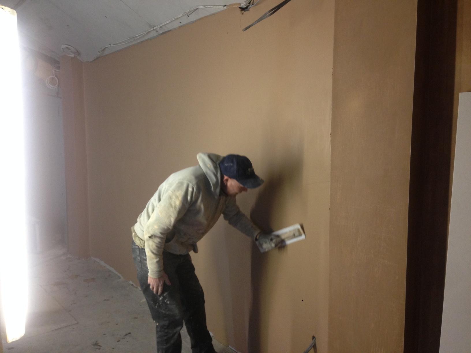 Richard Hewins finishing the plastering
