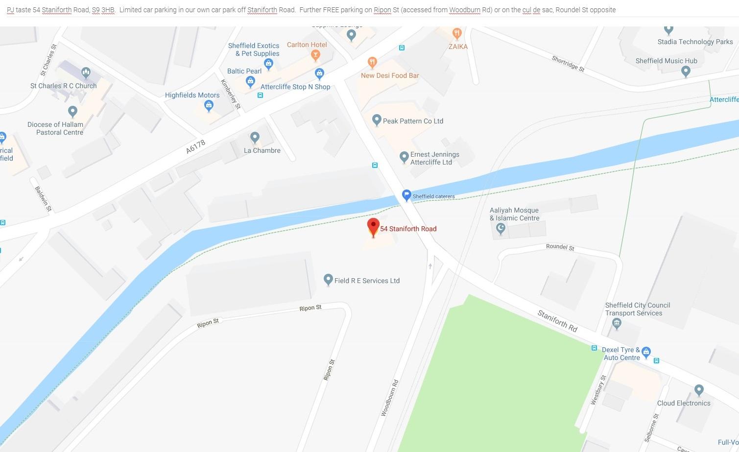 PJ taste - Location Map - 54 Staniforth Road Sheffield S9 3HB.jpg