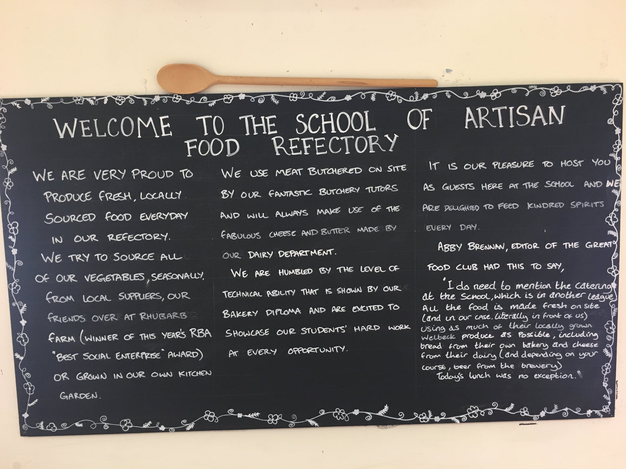 All students and staff at the School of Artisan Food eat together in the refectory