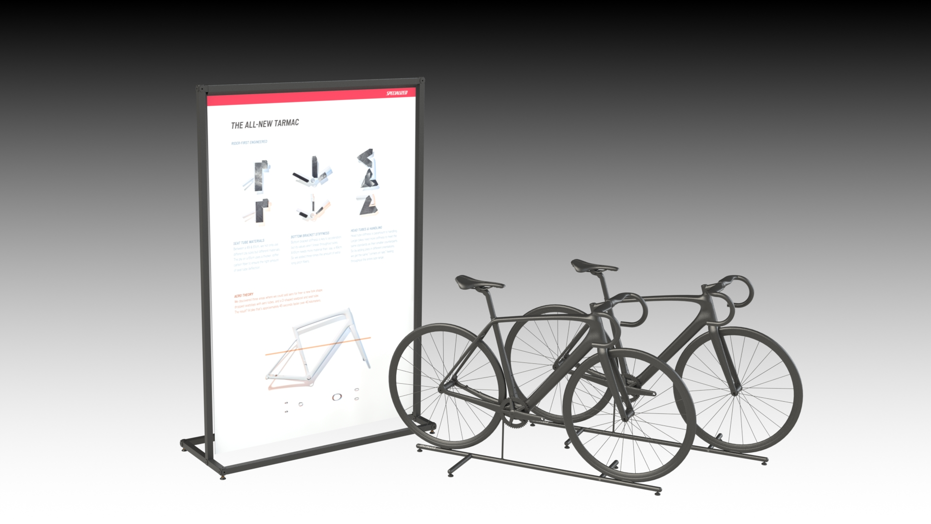It may seem technical… but when building value on the sales floor, these fixtures act as a easy cheat sheet for salespeople to walk their clients through the unique technology of each bike.