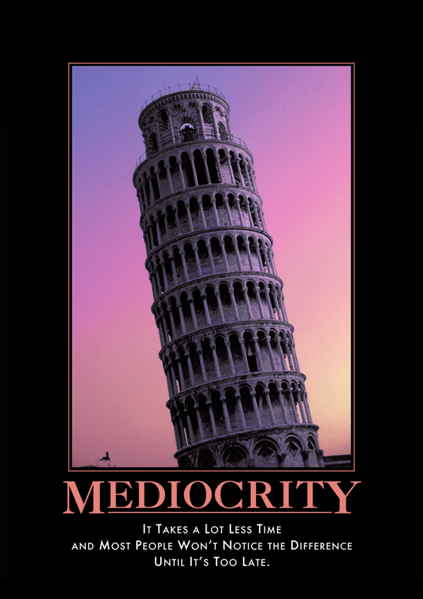 Demotivators®  parodied then ubiquitous corporate motivational posters. The parody went viral in 1998 at  despair.com .