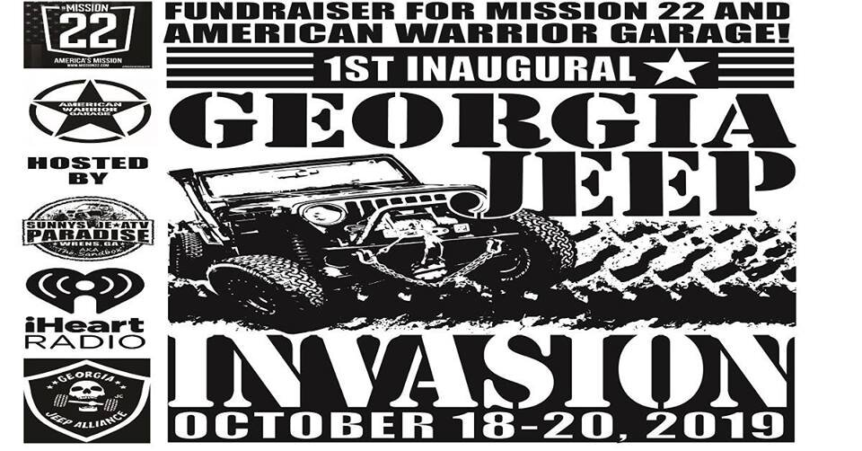 "Fundraiser fun ride for American Warrior Garage & Mission 22 RTI Ramps, Jeep flex course, Poker run, Barbie race, Bands & Bonfire, Mud bog, & more to come.  There will be raffles held by GA Jeep Alliance as well as we will be holding raffles of our own at the booth! This is a three day event! If you are a veteran and own a Jeep and would like to participate in the initial ""parade in"" please get with me so we can get that squared away. If you would like to help out with this event please click going and I will contact you when it is time! Thank you!"