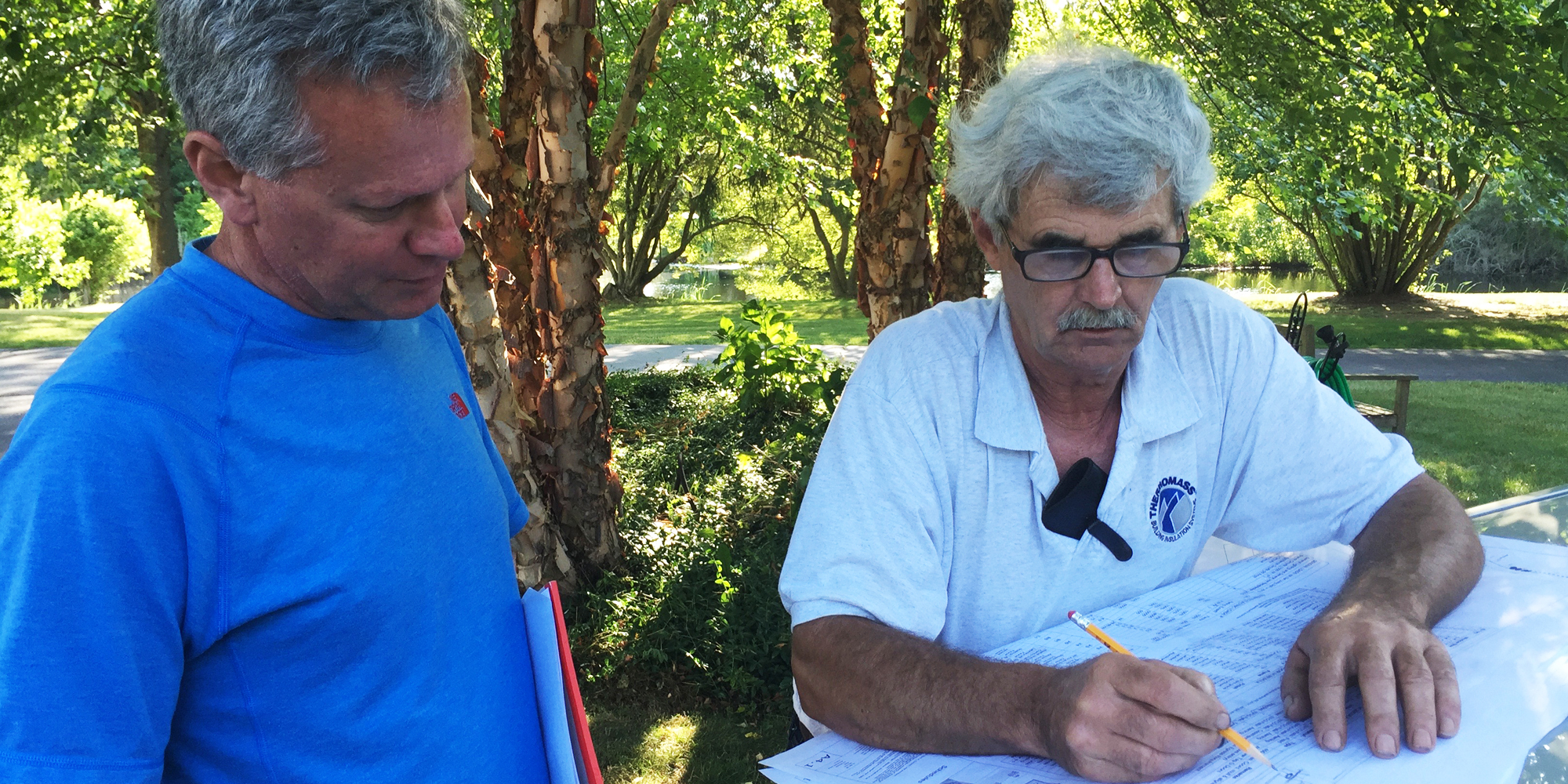 CM John O'Keefe reviews  Thermomass  plans with Dennis Purinton