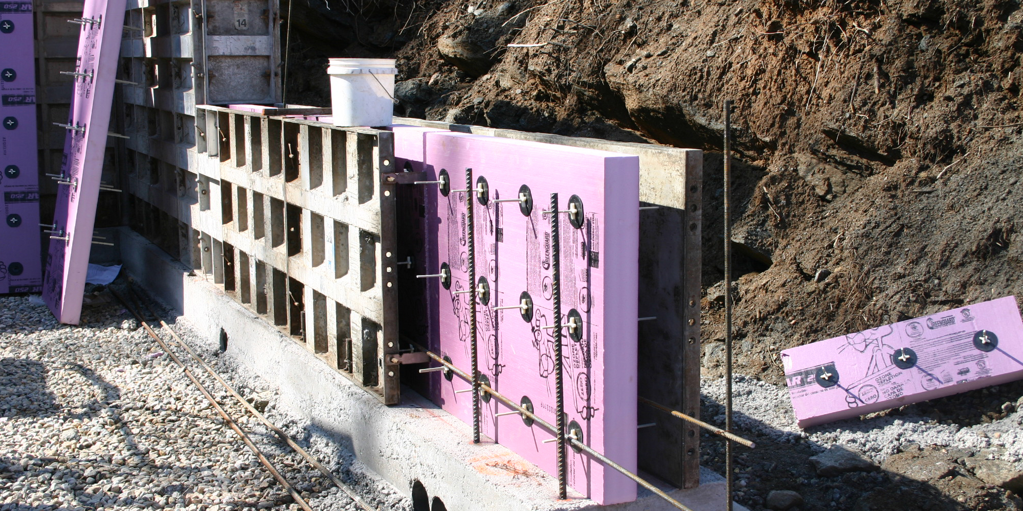Thermomass wall in progress by Purinton Builders