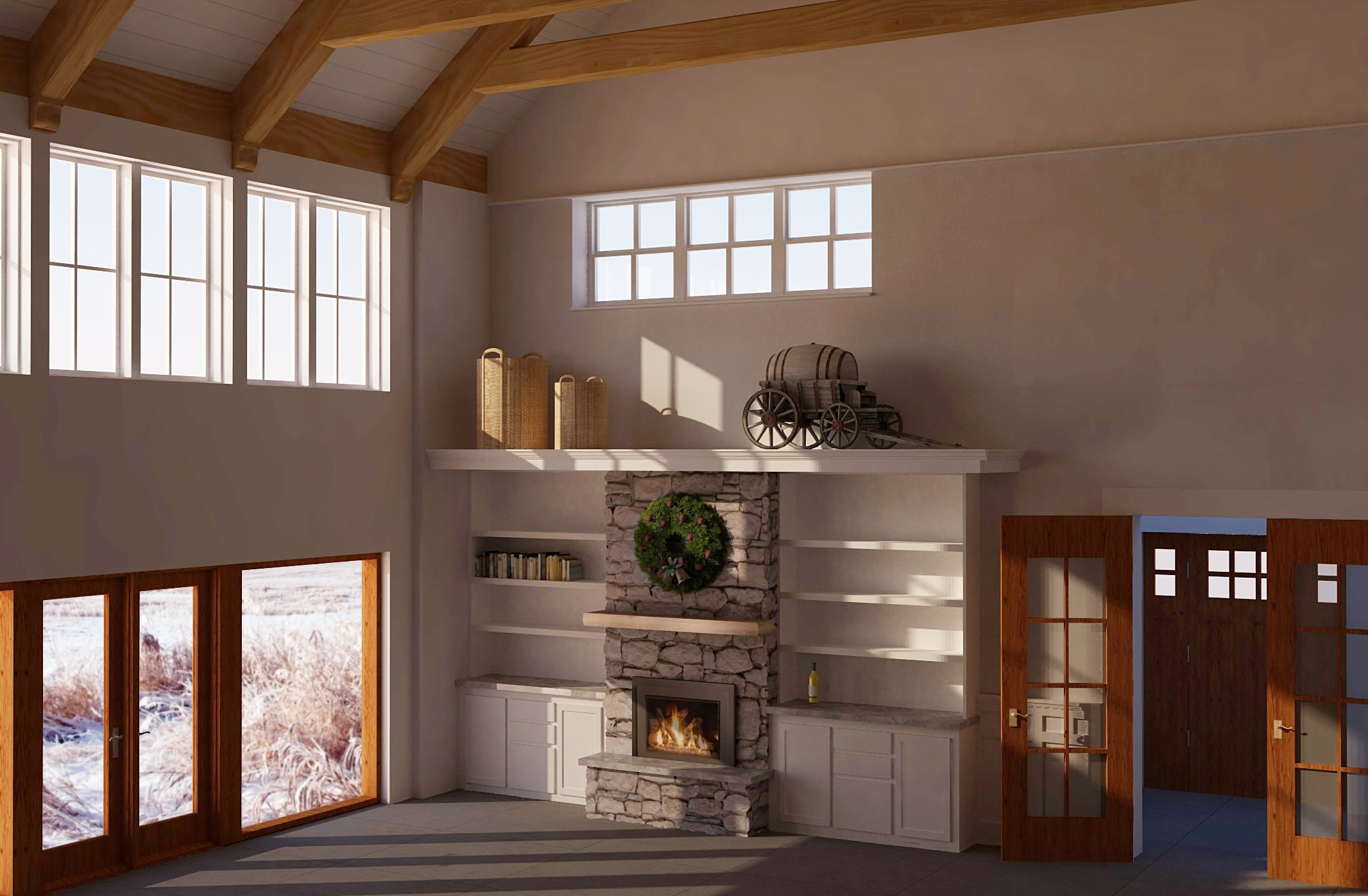 Southwest corner of the family room on a virtual winter morning.