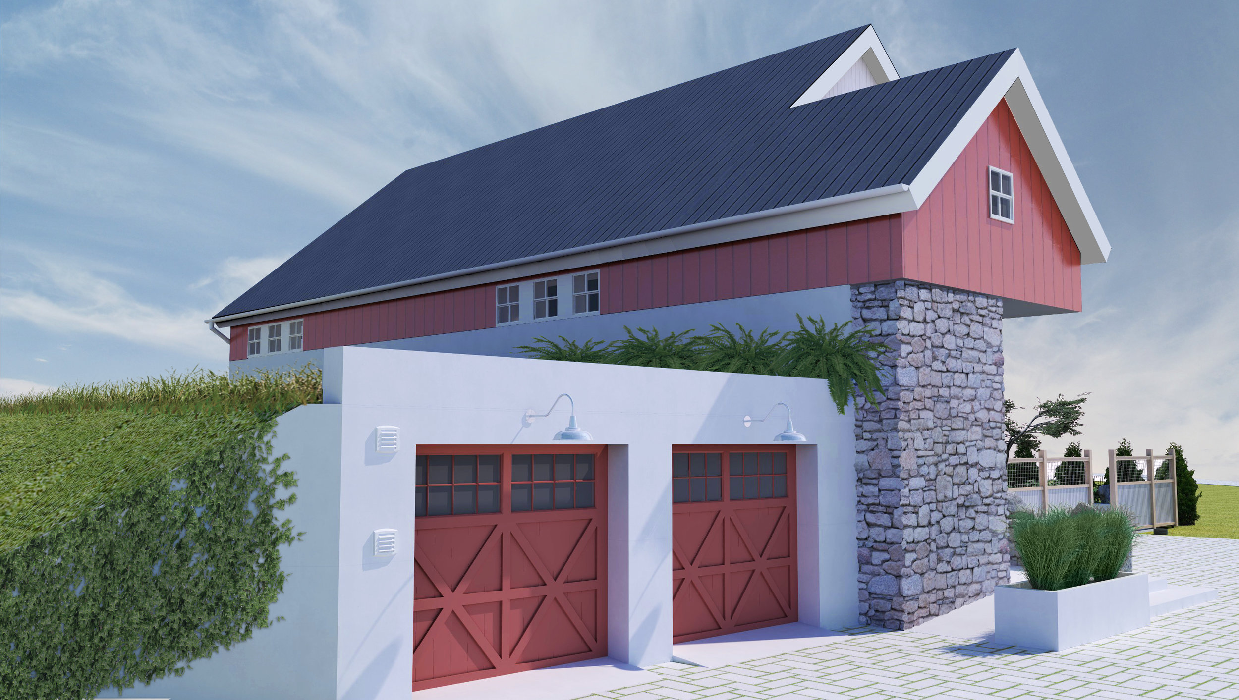 The  New American Barn  is designed to last for a very long time with minimal maintenance. The home's superior energy efficiency is enhanced by natural earth temperatures and passive solar gain in the winter, and strategic shading with ground cooling in the summer.