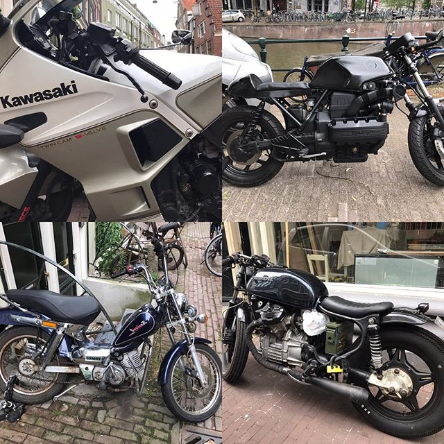 Moto's of Holland  #thedutch #thenetherlands #dutch #amsterdam #imagesforyoursenses #streetphotography #traveler #pictureoftheday  #motorcycle #motoporn #honda #bmw #tomas #kawasaki