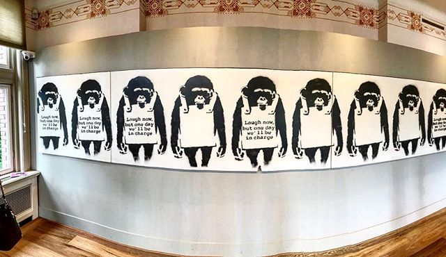 Laugh now but one day we'll be in charge... #resist  #thedutch #thenetherlands #dutch #amsterdam #imagesforyoursenses #streetphotography #traveler #pictureoftheday  #mocomuseum @mocomuseum  #banksy