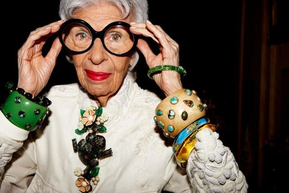 The lovely Iris Apfel rocking Inspired Luxe's bold bangle bracelets. Image courtesy of the Inspired Luxe blog at http://inspiredluxe.com/blogs/glocaljournal?page=2.
