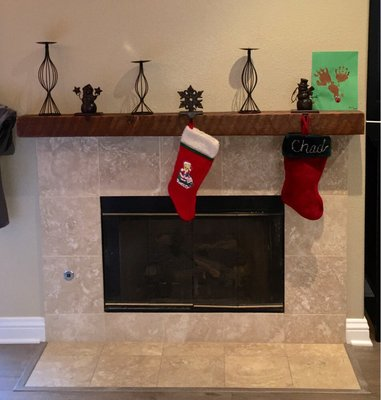 This happy customer just sent us a pic via Yelp, of his newly installed custom mantle from U.S. Reclaimed. This customer came into the shop & picked out areclaimed circle sawnbeam he liked & we cut down to his specifications & added a sand & finish to this piece per his request. We can custom design any fireplace mantle to your liking & specifications as well. Come in today to pick out your beam & custom design your own fireplace mantle to enjoy throughout this winter season!