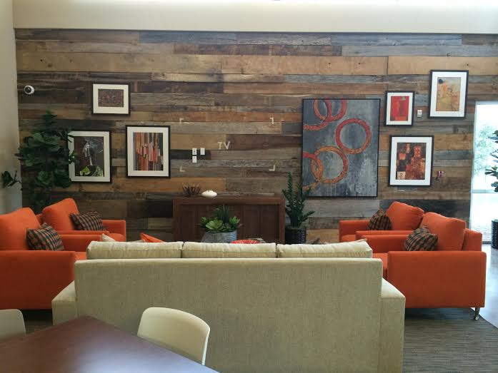 Our client just shared with us their gorgeous mixed reclaimed oak barn board paneling as an accent wall. The mixed colors & sizes of the reclaimed barn board adds texture, warmth & a unique style to their room. The custom design of placement of each piece of reclaimed wood paneling makes this wall its own work of art!    Ben,    Just wanted you to see the end result of our project. It turned out really great. Thanks.     Julie    Vice President Design