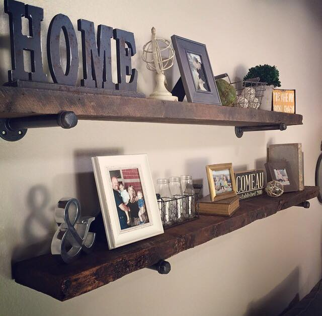 One of our DIY customers came in & picked out some great pieces to make wall shelves. They put a finish on them & added some metal accents. They turned out great & we love when our customers share their finished projects with us! Thanks Jillian!