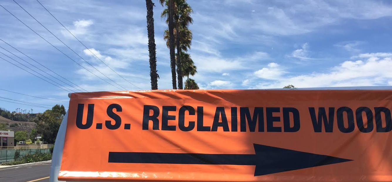 """We are so much easier to find now that we have replaced our old faded sign with our new & improved bright orange """"U.S. Reclaimed Wood"""" street sign! Keep an eye out for it heading north onCamino Capistrano& come check out the new stock in our newly expanded storefront, showroom & workshop at 28052 Camino Capistrano #103, Laguna Niguel, CA 92677!"""