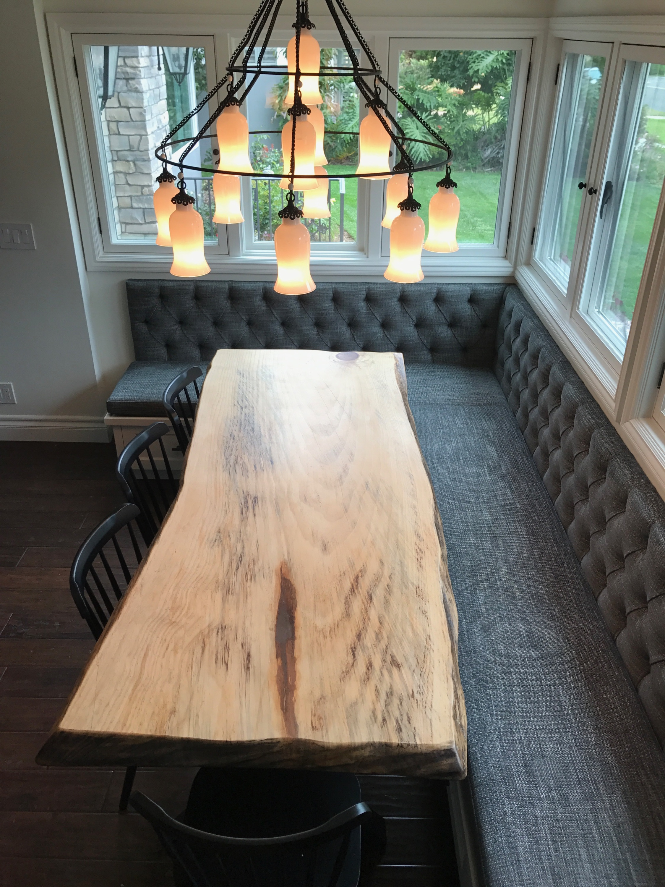 This gorgeous live edge slab table top is a great piece for a dining area. The slab is unique with wonderful character and details throughout the entire piece. The live edges give the table a beautiful completed look. U.S. Reclaimed, Vintage Lumber & Wood Works has a variety of slabs along with reclaimed wood available to start any home project. Contact or visit the store to get started on your new project with reclaimed wood.