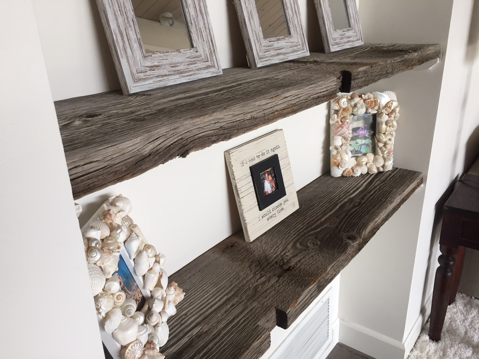 Reclaimed wood shelving adds great character to any area. The picture above shows how a customer used reclaimed wood material from Montana to create wonderful shelving. Contact or visit U.S. Reclaimed, Vintage Lumber & Wood Works to get started on your reclaimed wood project.