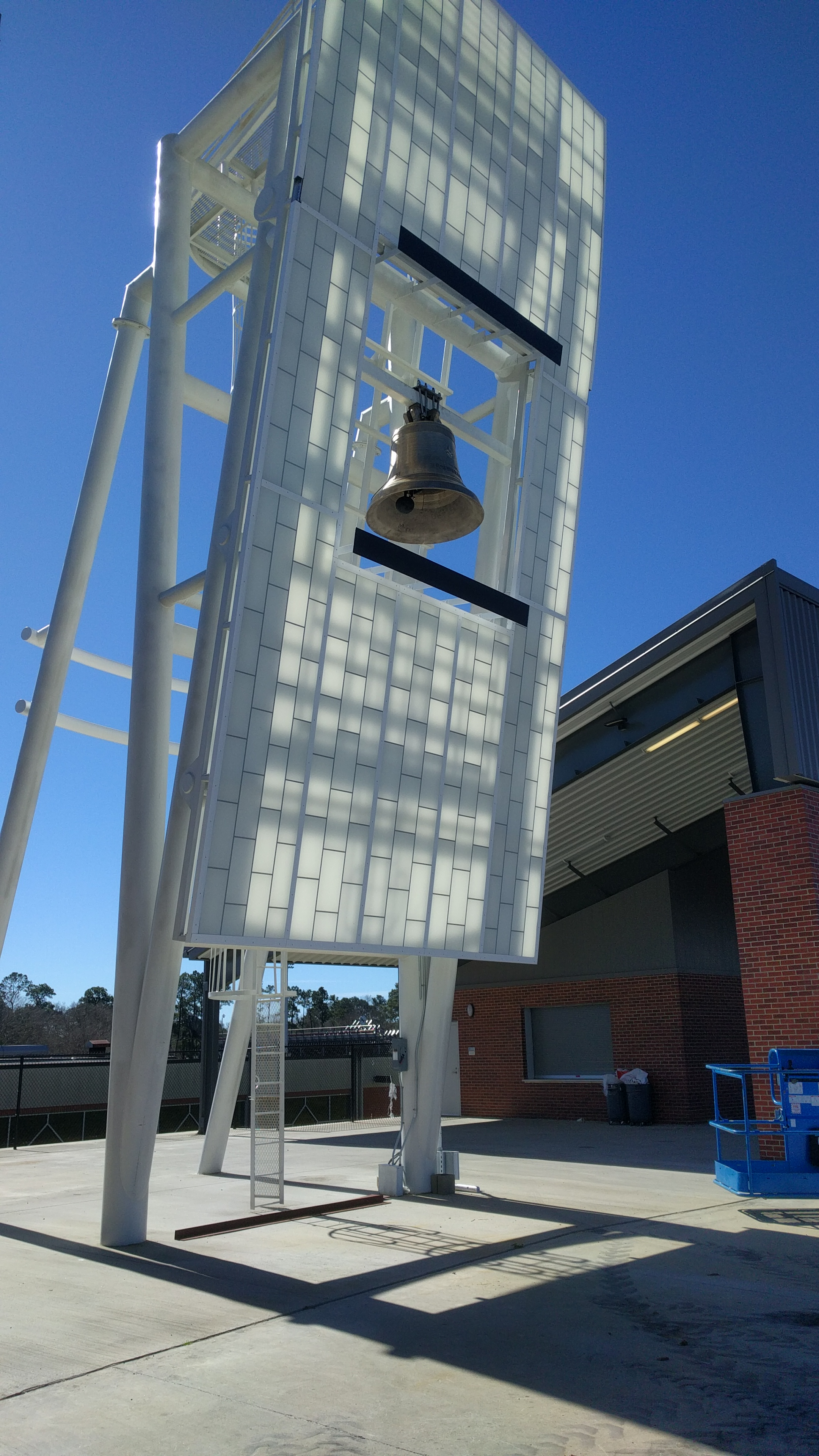 The new cast bronze victory bell at the Ragin' Cajuns stadium in Lafayette, Louisiana. Installed in 2016 by Chime Master in cooperation with the Paccard bell foundry.