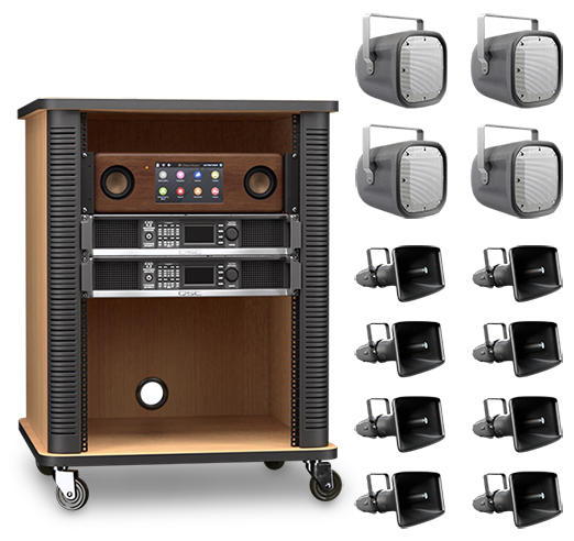 Platinum AX shown with optional inSpire Ultimate audio package and optional mobile rack mount cabinet.