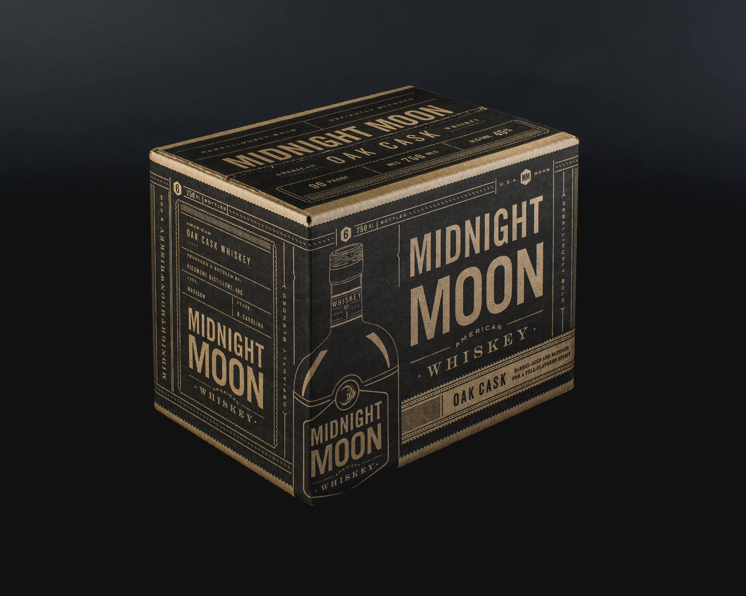 The shipper design reframes the bottle label for an experience that begins before the first pour.