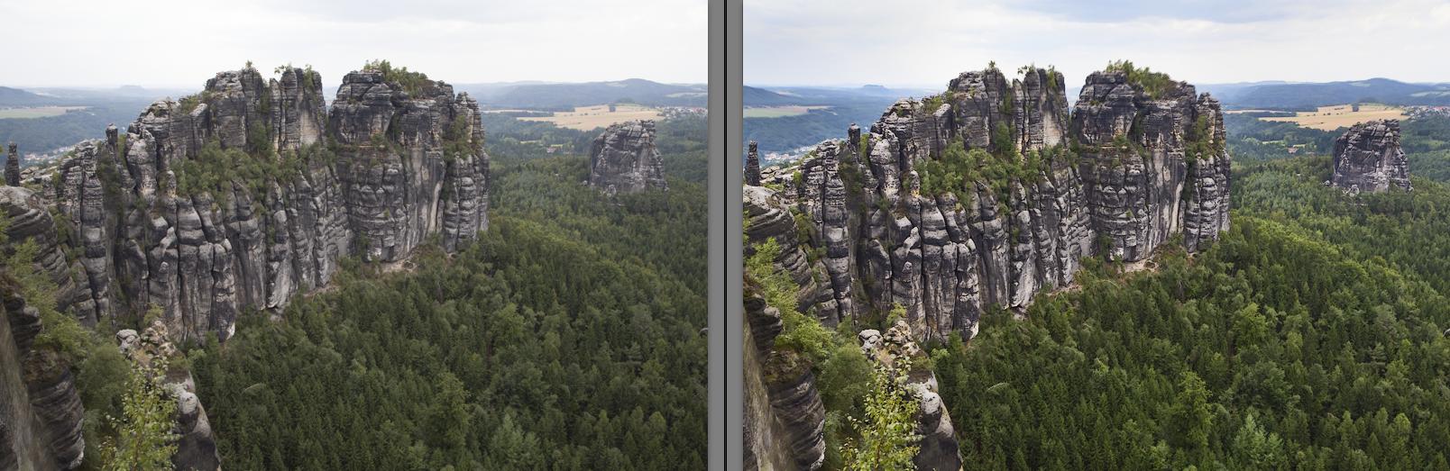 Auch bei Landschaftsaufnahmen sind kleine Korrekturen effektiv: Details im Himmel werden sichtbar, schwammige Kontraste klarer, Farben leuchtender