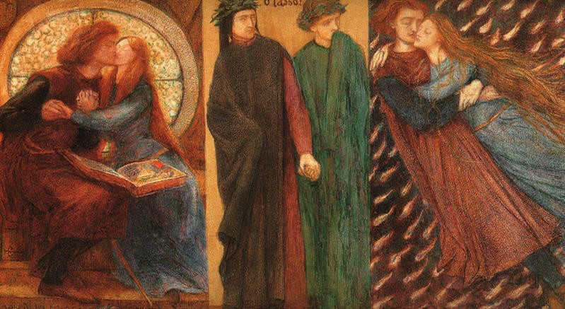Paolo and Francesca da Rimini, by Dante Gabriel Rossetti. Lizzie Siddal is the model.