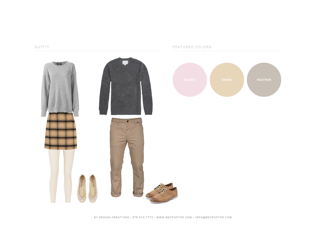 Inspired by the color and simplicity of ballet flats, this look for a couple is classy, understated, and perfect both in indoor and outdoor situations. For the ladies: a wool skirt, powdery leggings, and blush pink flats are comfy and flattering. Casual men's slacks and a wool sweater are elegant and simple to put together. Layering sweaters over plain tees makes the outfits versatile!