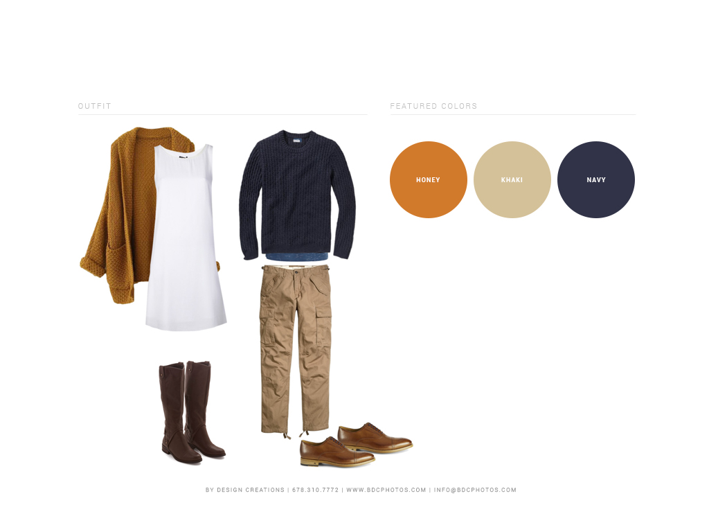 A mid-length mod-inspired dress with leather tall boots is always a fabulous look for ladies in cooler weather. His and Hers knit sweaters will keep you cozy and looking great on camera. And by the way - honey hues and navy blues make a perfect pair!