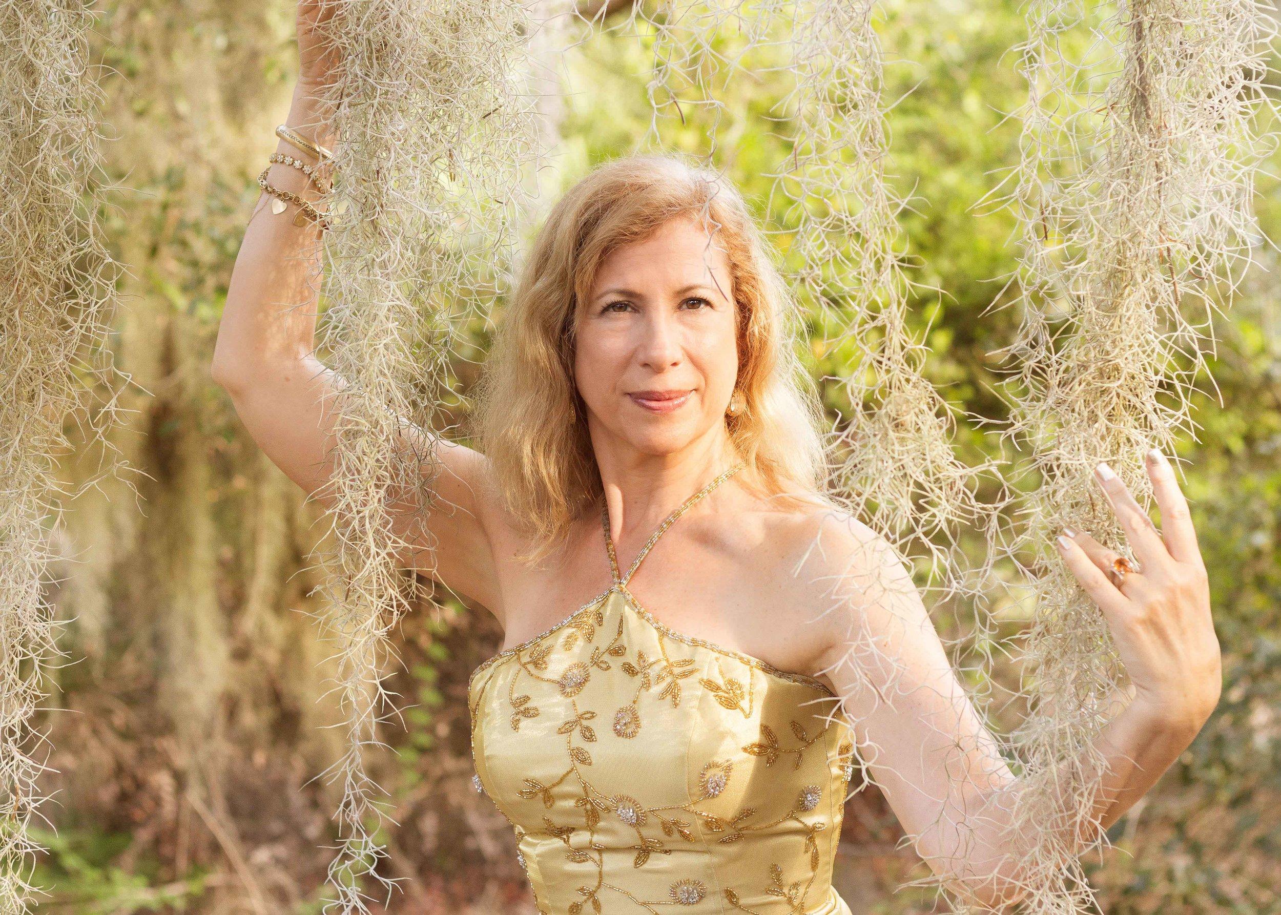 woman golden dress spanish moss goddess