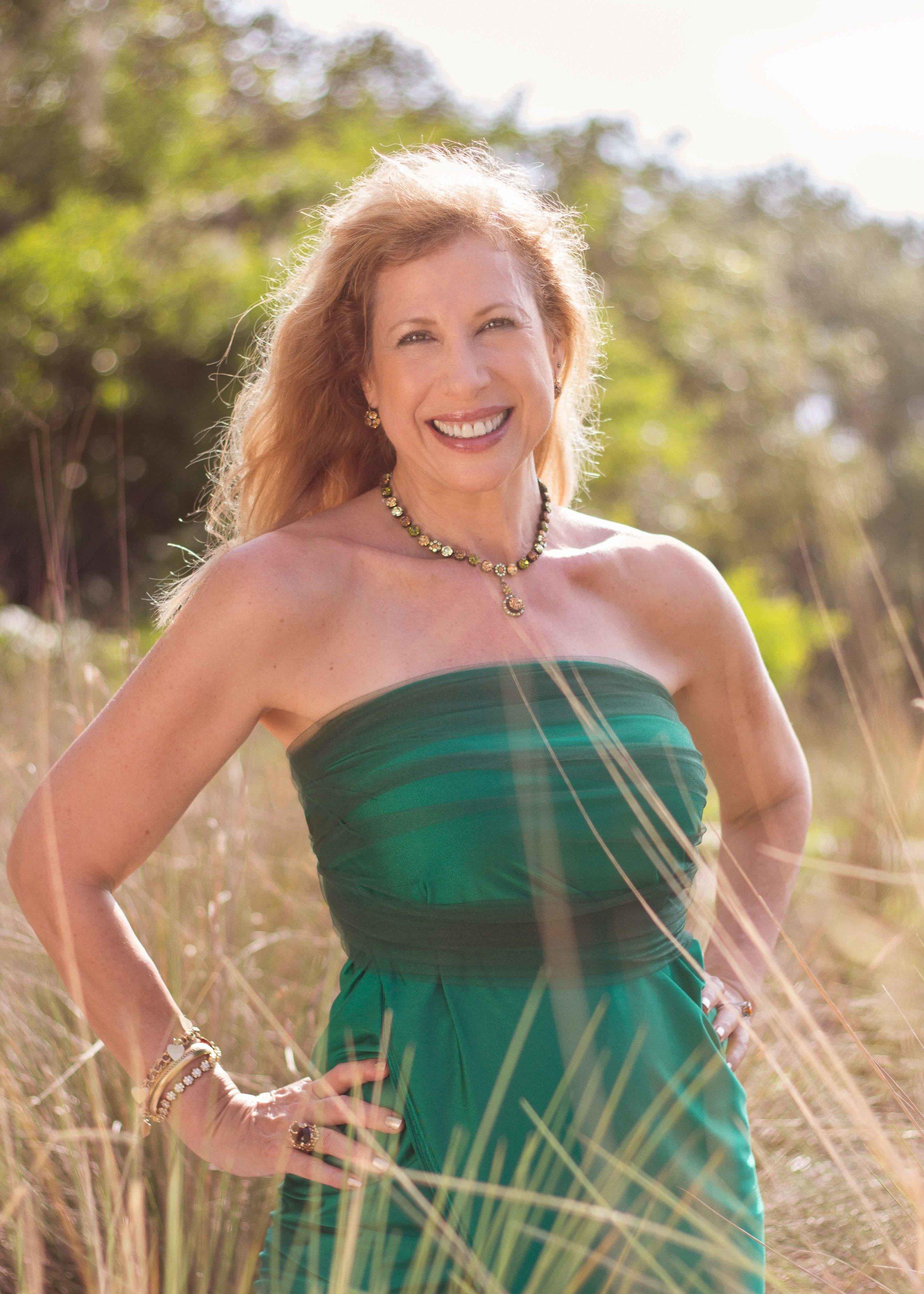 woman portrait green dress sunshine