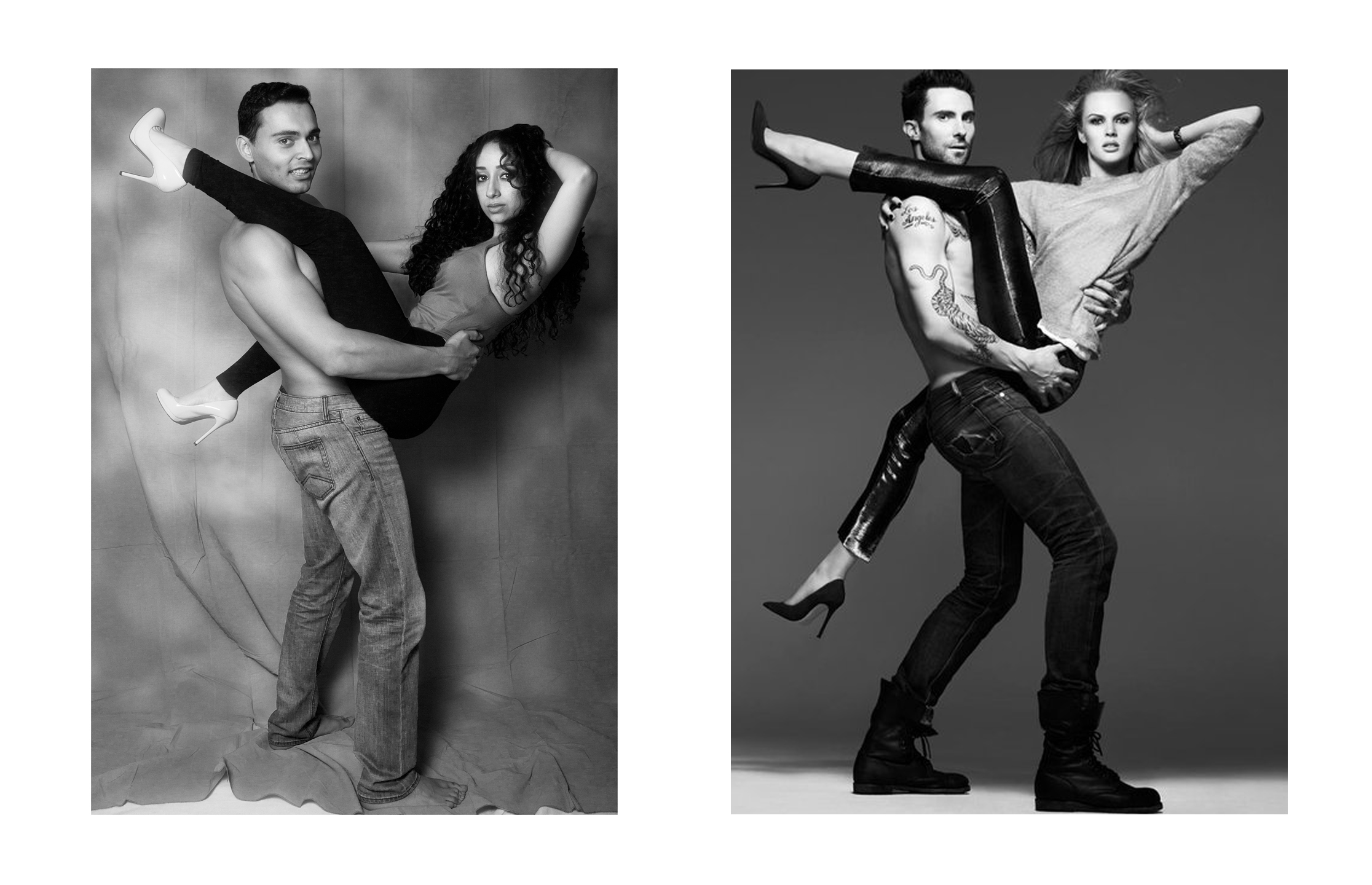 My angle is not as low as in the Vogue photo, (don't even get me started about my backdrop), and the pose might not be exactly like the celebrity couple's, but it's close enough and it was so much fun to create!