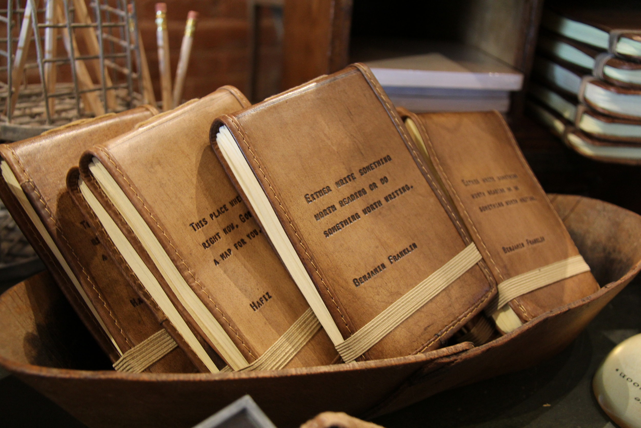 Leather journals with engraved quotes