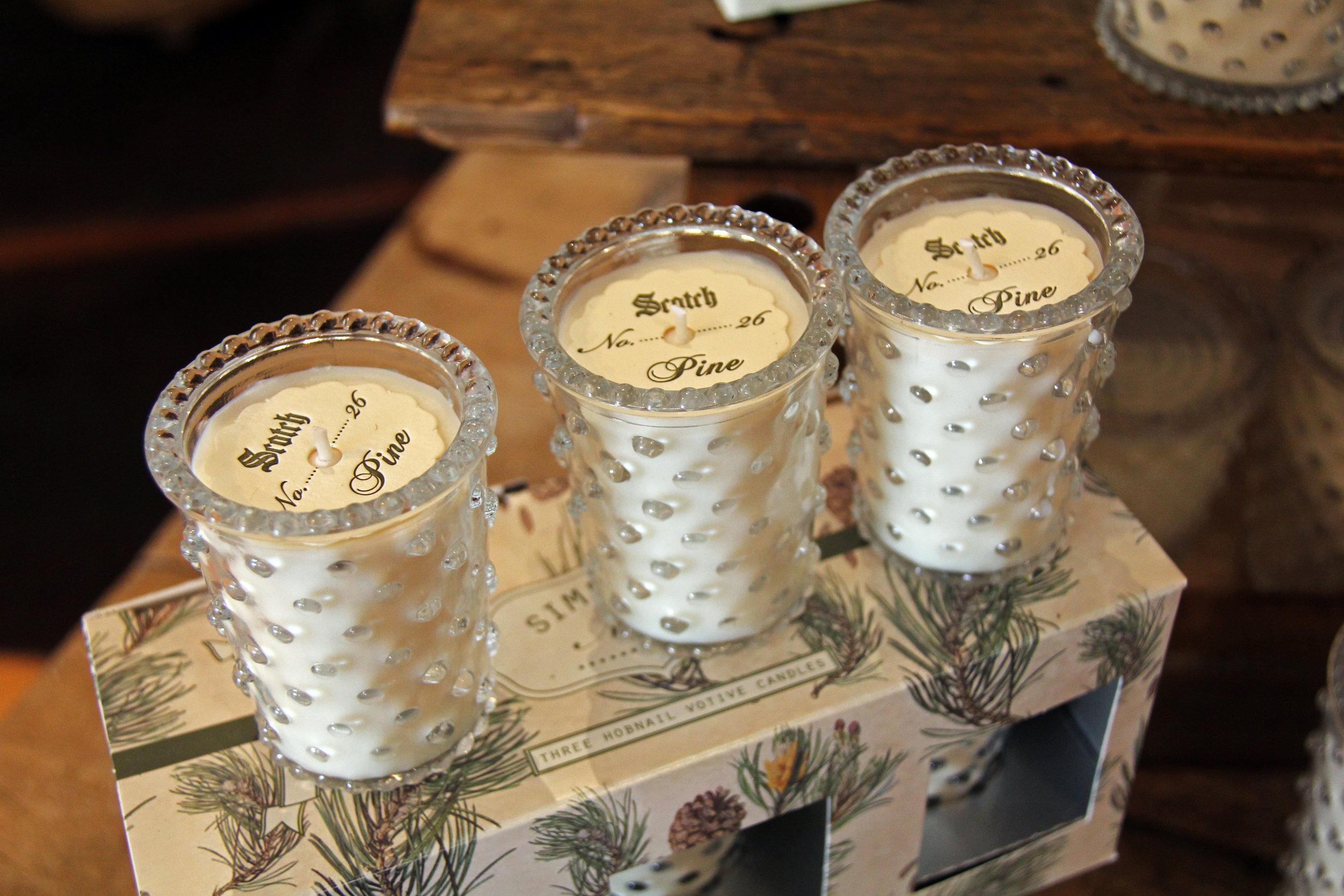 Sets of three & individual Scotch Pine hobnail candles