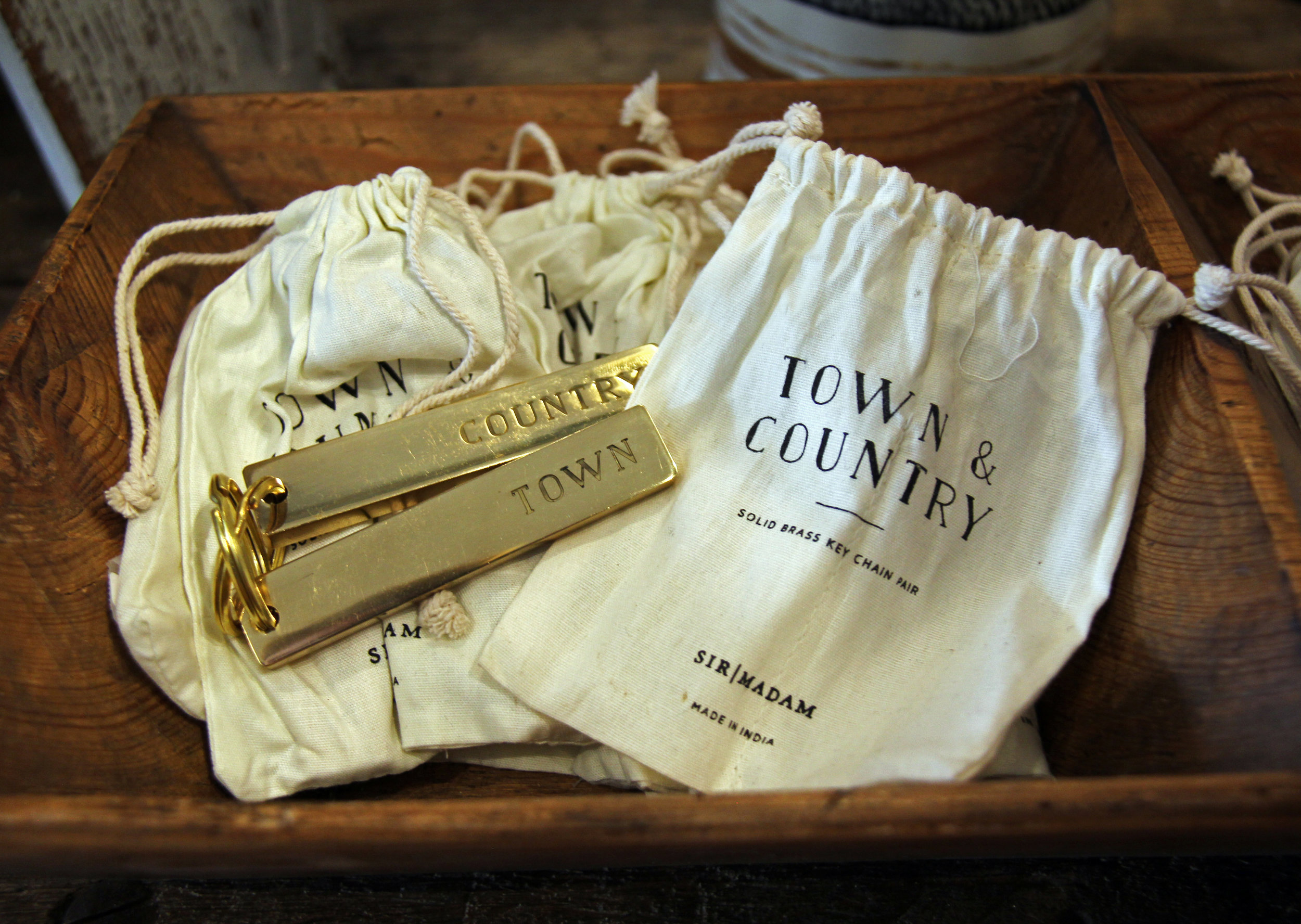 Brass Town & Country keychains