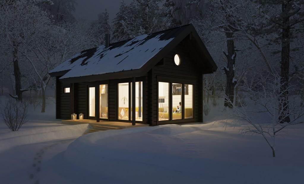 Современный компактный домдля загородного отдыхаHonka Lintukoto, площадь 40 кв.м. Дом для круглогодичной эксплаутации с кухней, душем и туалетом, поэтому без электричестване обойтись.
