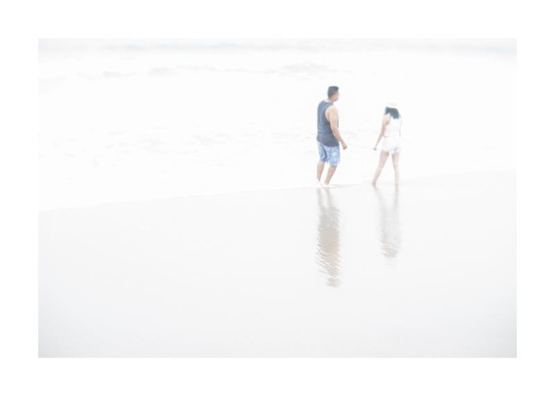 White sea with couple